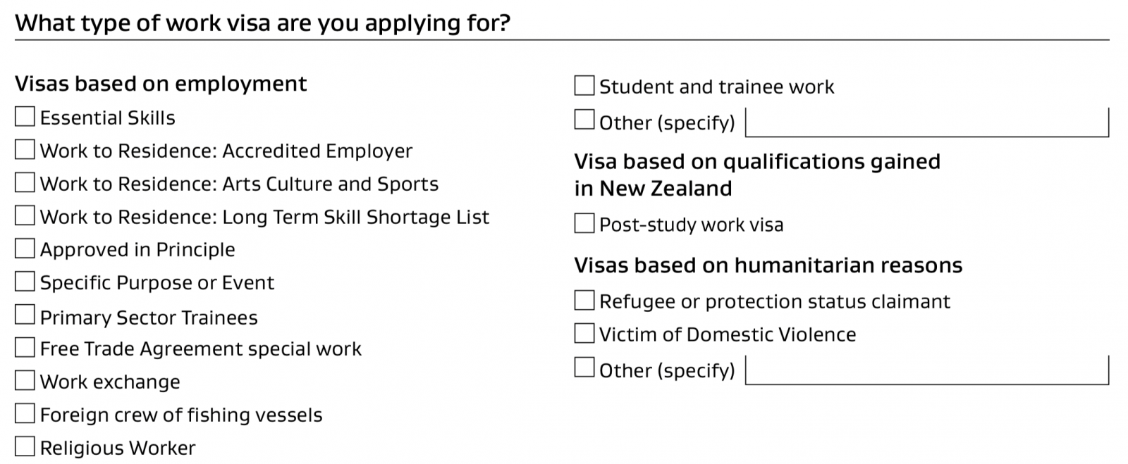 Diferentes tipos de Work Visa New Zealand